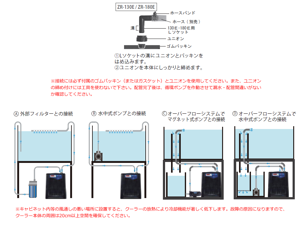 クーラー設置方法ZR-130E / ZR-180E